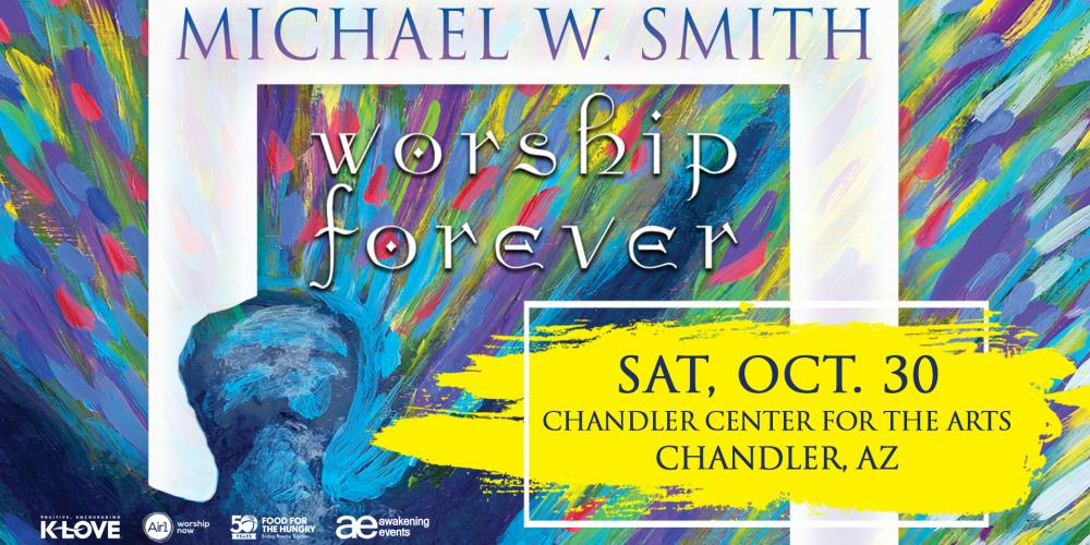 The image has a background of bursting rainbow colors with the title Michael W Smith, Worship Forever across it. There is a blue figure with arms stretched up to the sky.