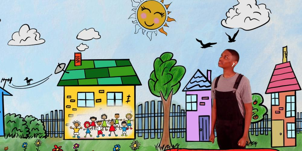 Image of Jabari - a young boy - viewing his painting of a peaceful community with blue skies and smiling sun, houses with flowers