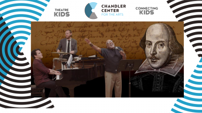 A vocalist, pianist, and drummer perform in front of a brown screen featuring a drawing of William Shakespeare.