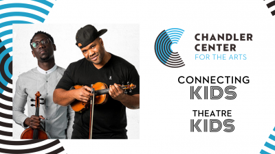The two Black Violin performers pose next to the Chandler Center for the Arts Logo.