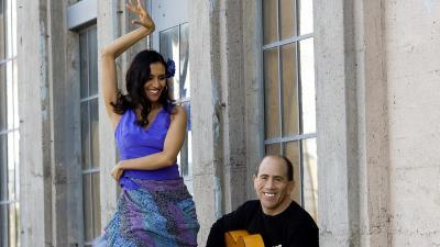 A flamenco dancer, wearing a purple dress, strikes a pose while a guitarist serenades her.