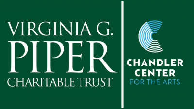 White logos for Virginia G Piper and Chandler Center for the Arts on a forest green background.