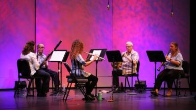 A wind quintet performs in front of a pink and purple backdrop.
