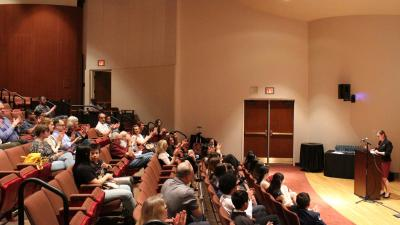 The Recital Hall is a lecture hall-style space providing optimal listening and viewing for acoustic musical recitals